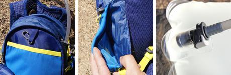 (左)必要十分な細かいポケット類 (中)両サイドのボトムにもストレッチメッシュのポケットが。 (右)ハイドレーションパックのチューブは ワンタッチでリリース可能。